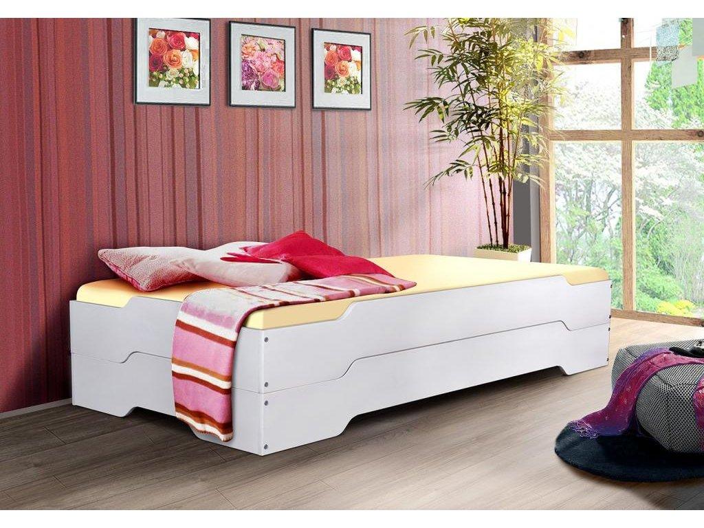 Rozkladacia posteľ Mia 200x90 v bielej farbe